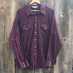 VTG Timber Run Pearl Snap Plaid Western Shirt